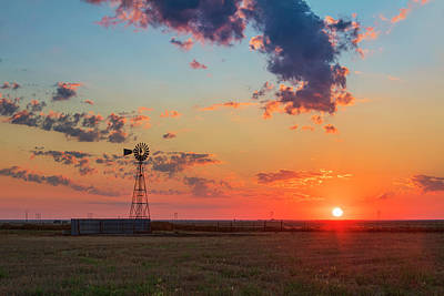 Graduation Hats - West Texas Windmill Sunrise 7246 by Rob Greebon