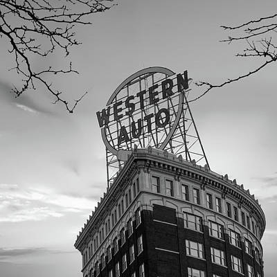Photograph - Western Auto Neon Sign At Sunrise - Downtown Kansas City Monochrome by Gregory Ballos