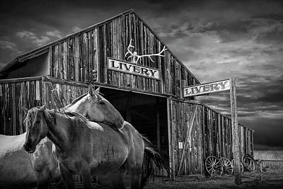 Photograph - Western Horses At The Livery Stable In Black And White by Randall Nyhof