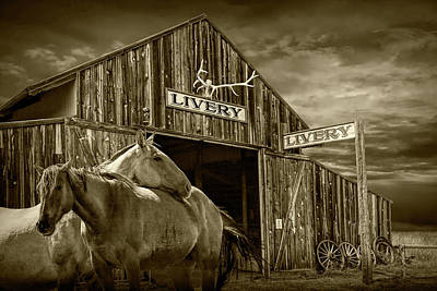 Photograph - Western Horses At The Livery Stable In Sepia Tone by Randall Nyhof