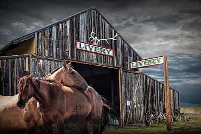 Photograph - Western Horses At The Livery Stable by Randall Nyhof