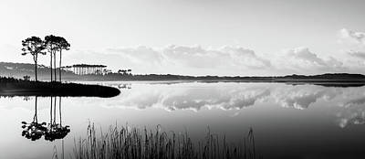Photograph - Western Lake Misty Morning Panorama Black $ White by Kurt Lischka
