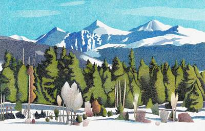 Drawing - Western Slope Winter by Dan Miller