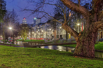 Photograph - Westersingel Rotterdam In The Blue Hour by Frans Blok