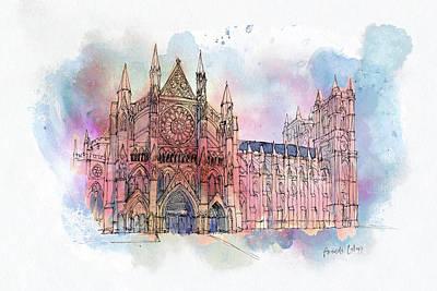 Wall Art - Mixed Media - Westminster Abbey by Amanda Lakey