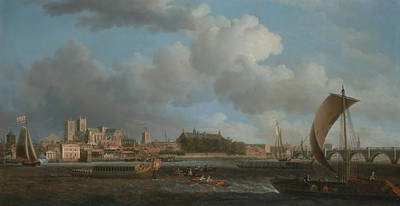 Painting - Westminster From Lambeth, With The Ceremonial Barge by Samuel Scott