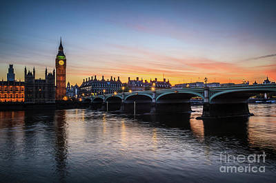 Photograph - Westminster Sunset by Arnaldo Tarsetti