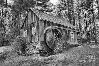 Photograph - Weston Vermont Grist Mill Black And White by Adam Jewell