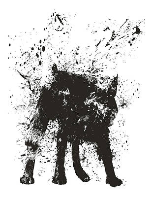 Black And White Art Mixed Media - Wet Dog by Balazs Solti