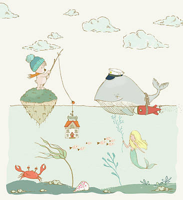 Art Print featuring the painting Whale And Bear In The Ocean Whimsical Art For Kids by Matthias Hauser