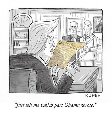 Trump Drawing - What Obama Wrote by Peter Kuper