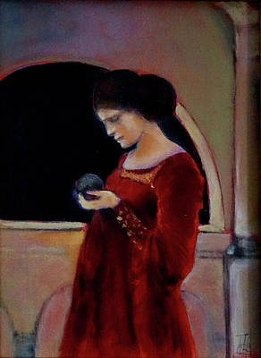 Painting - The Crystal Ball - after Waterhouse by Linda Falorio