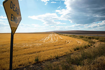 Photograph - Wheat Stubble And Dead End Sign by Tom Cochran