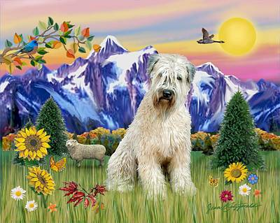 Digital Art - Wheaten Terrier In The Country by Jean Batzell Fitzgerald