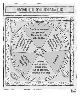 Drawing - Wheel Of Dinner by David Ostow