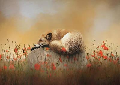 Wall Art - Mixed Media - When Foxes Dream by Amanda Lakey