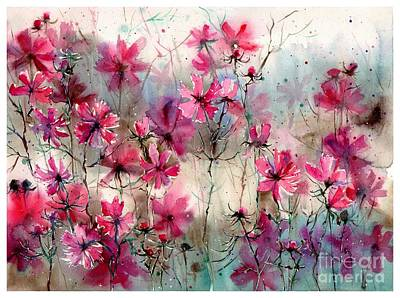 Tulips Watercolor Wall Art - Painting - Where Pink Flowers Grew by Suzann's Art