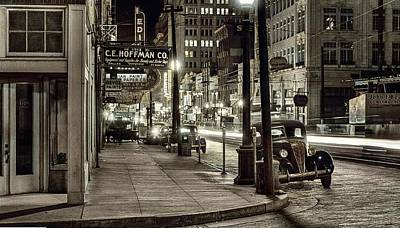 Beers On Tap - Where the sidewalk ends, Dallas, 1942, Night view, downtown section. Dallas, Texas  by Arthur Rothst by Ahmet Asar