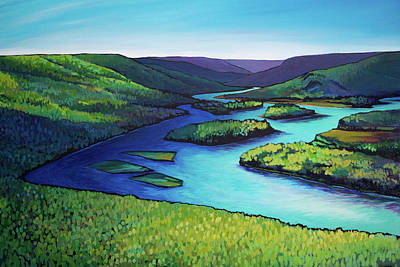 Painting - Where the Smoky and Peace Rivers Meet by Alison Newth
