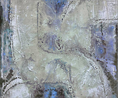 Mixed Media - Whit Blue Field by Rudi Eckerle