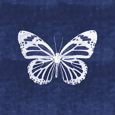 Mixed Media - White And Indigo Butterfly 3- Art By Linda Woods by Linda Woods