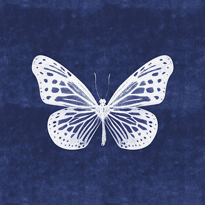 Mixed Media - White And Indigo Butterfly- Art By Linda Woods by Linda Woods