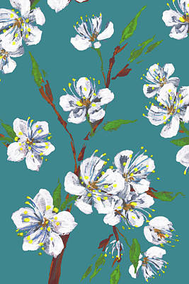 Royalty-Free and Rights-Managed Images - White And Teal Cherry Blossoms Impressionism by Irina Sztukowski