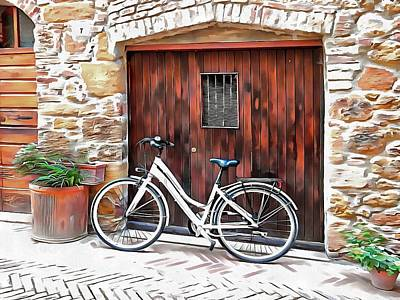 Photograph - White Bicycle Pienza by Dorothy Berry-Lound