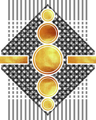 Mixed Media - White, Black And Gold Abstract - Modern Geometric Abstract - Pattern Design - Golden Circle Pattern by Studio Grafiikka