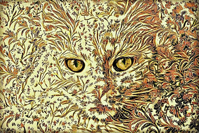 Digital Art - White Cat Vintage Paisley Style by Peggy Collins