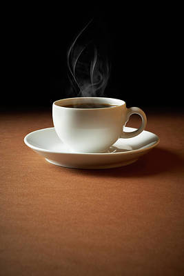 Photograph - White Cup Of Coffee Sends Up Steam by Hdere