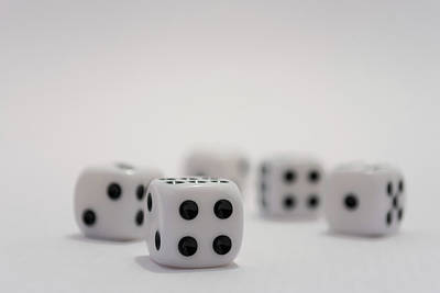Photograph - White Dice With Black Dots On White Background by Scott Lyons