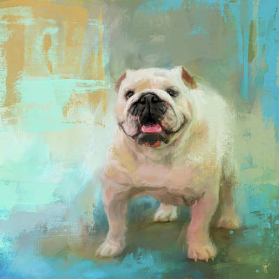 Painting - White English Bulldog by Jai Johnson