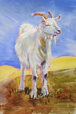 Painting - White Goat With Horns Painting by Mike Jory