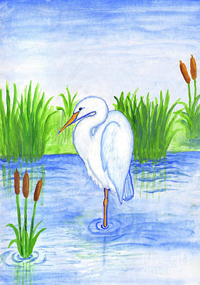 Painting - White Heron by Dobrotsvet Art