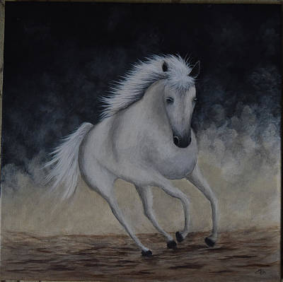 Painting - White Horse by Gloria Johnson