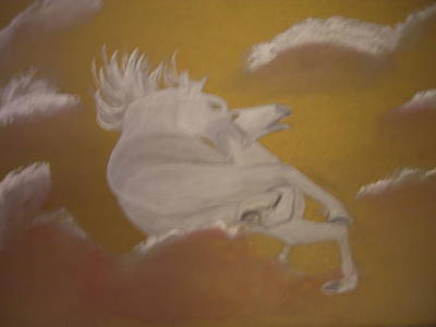 Painting - White Horses In A Golden Sky by Michela Akers