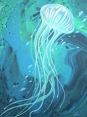 Painting - White Jellyfish by William Love