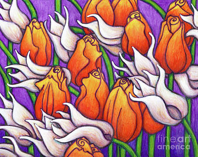 Painting - White Lily And Orange Emperor Tulips by Amy E Fraser