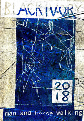 Relief - White Lines In Blue by Artist Dot