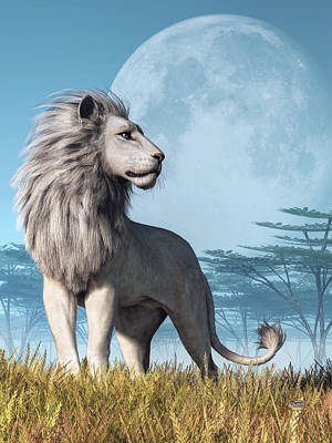 Digital Art - White Lion And Full Moon by Daniel Eskridge