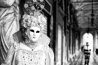 Photograph - White Mask At Venice Carnival by John Rizzuto