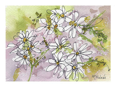 Painting - White Mockseed Watercolor Wall Art by Kathleen McElwaine