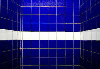 Symmetry Photograph - White On Blue Tile by Ti-rouge