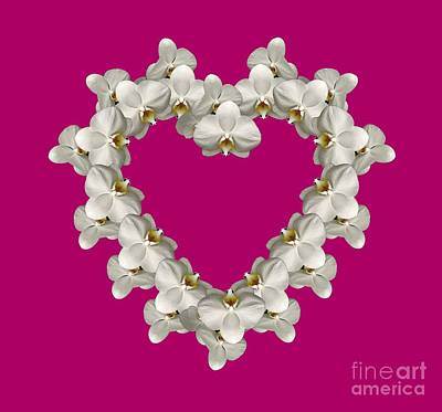 Photograph - White Orchid Floral Heart Love And Romance by Rose Santuci-Sofranko