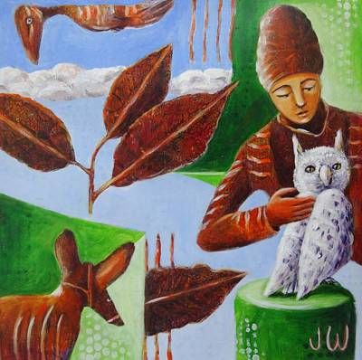 Painting - White Owl by June Walker