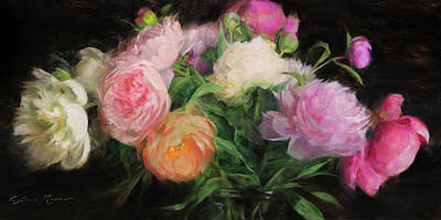White, Pink And Coral Peonies Original