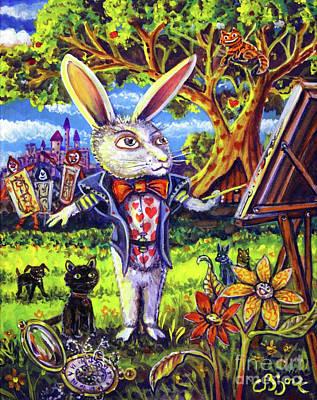 Painting - White Rabbit Alice In Wonderland by CBjork Art