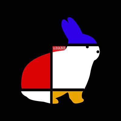 Digital Art - White Rabbit by Ubabe Style