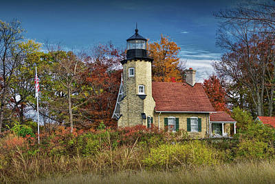 Photograph - White River Light In Autumn By Whitehall Michigan by Randall Nyhof